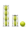 tennis balls in plastic cans realistic vector image vector image