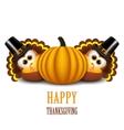 Thanksgiving turkeys with pilgrim hat and pumpkin vector image vector image