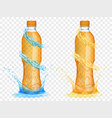 transparent plastic bottles with water crowns and vector image vector image