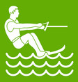water skiing man icon green vector image