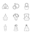 Wedding celebration icons set outline style vector image vector image
