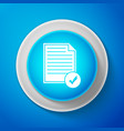 white document and check mark icon checklist icon vector image vector image
