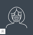woman wit medical mask thin line icon vector image vector image
