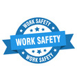 work safety ribbon work safety round blue sign vector image vector image