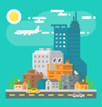 Colorful cityscape scene in flat design vector image