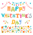 Happy Valentines Day poster Cute greeting card vector image
