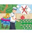 hunt for mosquitoes in the garden vector image