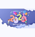 2020 happy new year design card with kids vector image