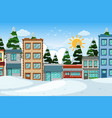 an outdoor scene with town building vector image vector image