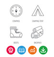 backpack camping tend and hiking boots icons vector image
