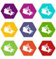 canada map icon set color hexahedron vector image vector image