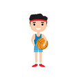 cartoon boy holding basketball isolated on white vector image