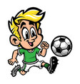 Cartoon boy kid playing football or soccer in a vector image