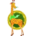 cartoon illustration giraffe with scarf vector image vector image