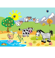 children with domestic animals vector image vector image