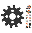 cogwheel icon with love bonus vector image vector image