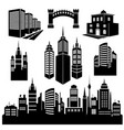 collection of silhouettes of city images vector image vector image