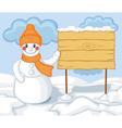 Cute cartoon snowman and billboard vector image vector image