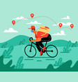 delivery man with delivery bike vector image vector image