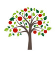 flat color single apple tree vector image vector image