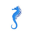 flat icon of bright blue seahorse small vector image vector image