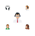 flat icon telemarketing set of secretary help vector image vector image