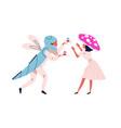 funny couple in festive halloween mushroom vector image vector image