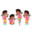 girl kindergarten kid poses set black vector image vector image