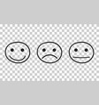 Hand drawn smiley icon emotion face in flat style