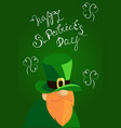 happy st patrick s day lettering with red beared vector image vector image