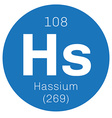 Hassium chemical element vector image vector image