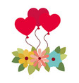 heart shaped balloons isolated icon vector image