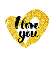 i love you gold inscription vector image vector image
