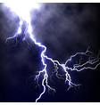 isolated realistic lightning in the dark blue sky vector image