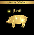isolated vintage gold emblem for farm with pork vector image vector image