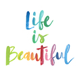 Life is beautiful calligraphic poster vector image vector image
