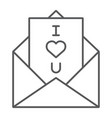 love letter thin line icon love and valentine vector image vector image