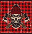 lumberjack bearded skull color vector image