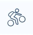 Man riding bike sketch icon vector image vector image