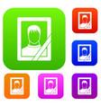 memory portrait set collection vector image vector image
