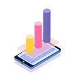 mobile phone statisctics in visual representation vector image