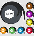 New Icon sign Symbols on eight colored buttons vector image vector image