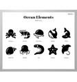 ocean elements solid pack vector image