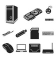 personal computer black icons in set collection vector image