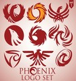 phoenix logo set 1 vector image