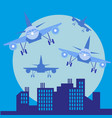plane in front of big city silhouette flat style vector image vector image