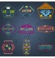 Pop art gun shop logotypes and badges set vector image