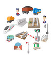 railroad cartoon icons vector image vector image