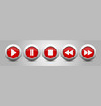 red metallic music control buttons set vector image