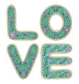 romantic love lettering in style hippie vector image vector image